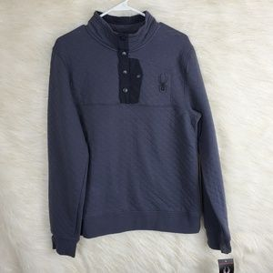 Spyder Ski Snow Quilted Pullover Jacket 1/4 Button